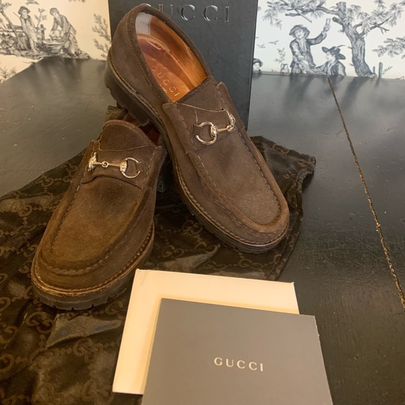 abcac81e06526 Gucci Brown Suede Lug Sole Loafer Shoes 6.5 Box